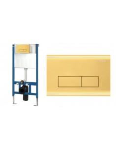 Zestaw Stelaż Podtynkowy WC Ultra Slim Przycisk Gold Złoty